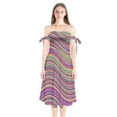 Wave Abstract Happy Background Shoulder Tie Bardot Midi Dress
