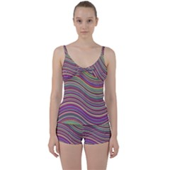Wave Abstract Happy Background Tie Front Two Piece Tankini
