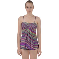 Wave Abstract Happy Background Babydoll Tankini Set