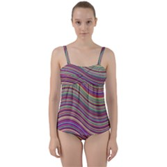Wave Abstract Happy Background Twist Front Tankini Set