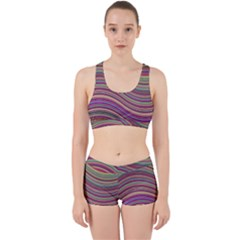 Wave Abstract Happy Background Work It Out Sports Bra Set