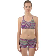 Wave Abstract Happy Background Back Web Sports Bra Set