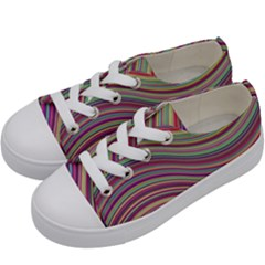 Wave Abstract Happy Background Kids  Low Top Canvas Sneakers