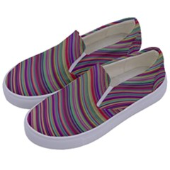 Wave Abstract Happy Background Kids  Canvas Slip Ons