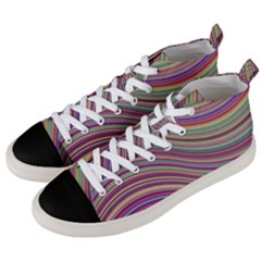 Wave Abstract Happy Background Men s Mid-Top Canvas Sneakers
