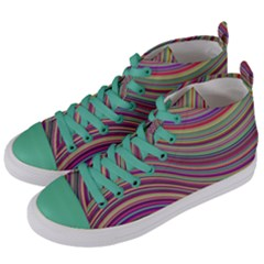 Wave Abstract Happy Background Women s Mid-Top Canvas Sneakers