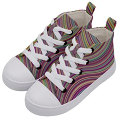 Wave Abstract Happy Background Kid s Mid-Top Canvas Sneakers