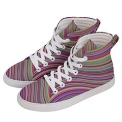 Wave Abstract Happy Background Women s Hi-Top Skate Sneakers