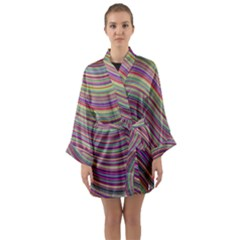 Wave Abstract Happy Background Long Sleeve Kimono Robe