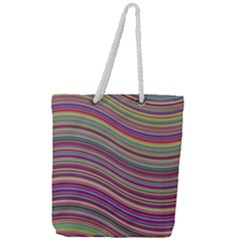 Wave Abstract Happy Background Full Print Rope Handle Tote (Large)