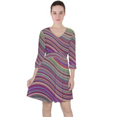 Wave Abstract Happy Background Ruffle Dress