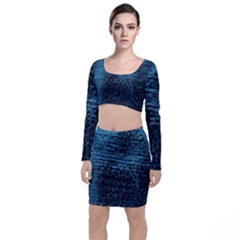 Blue Black Shiny Fabric Pattern Long Sleeve Crop Top & Bodycon Skirt Set by BangZart