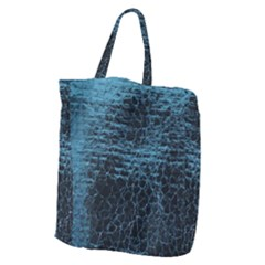 Blue Black Shiny Fabric Pattern Giant Grocery Zipper Tote by BangZart