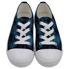 Blue Black Shiny Fabric Pattern Kids  Low Top Canvas Sneakers