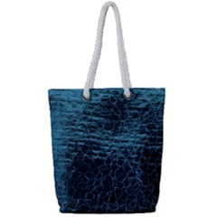 Blue Black Shiny Fabric Pattern Full Print Rope Handle Tote (small)