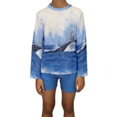 Whale Watercolor Sea Kids  Long Sleeve Swimwear by BangZart