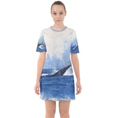 Whale Watercolor Sea Sixties Short Sleeve Mini Dress