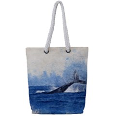 Whale Watercolor Sea Full Print Rope Handle Tote (small)