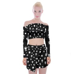 Panda Pattern Off Shoulder Top With Mini Skirt Set by Valentinaart
