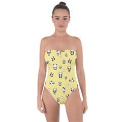 Panda Pattern Tie Back One Piece Swimsuit