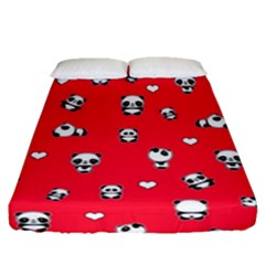 Panda Pattern Fitted Sheet (queen Size) by Valentinaart