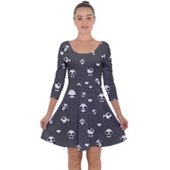 Panda Pattern Quarter Sleeve Skater Dress