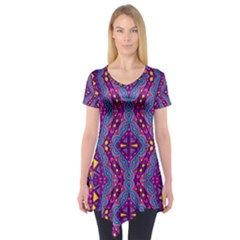 Aztec Purple Pattern Short Sleeve Tunic  by allthingseveryday