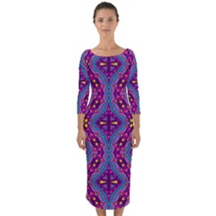 Aztec Purple Pattern Quarter Sleeve Midi Bodycon Dress