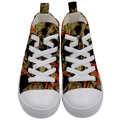Artistic Effect Fractal Forest Background Kid s Mid Top Canvas Sneakers