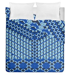Flower Of Life Pattern Blue Duvet Cover Double Side (queen Size)