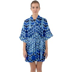 Flower Of Life Pattern Blue Quarter Sleeve Kimono Robe by Cveti