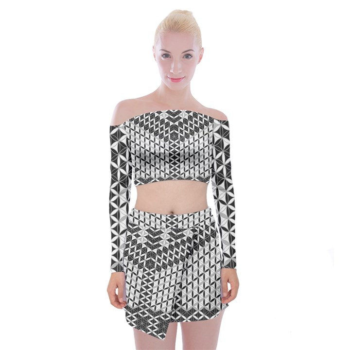 Flower Of Life Grey Off Shoulder Top with Mini Skirt Set