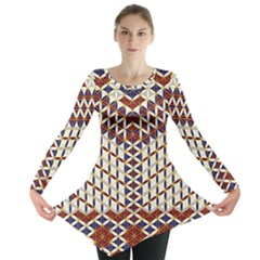 Flower Of Life Pattern Red Blue Long Sleeve Tunic  by Cveti