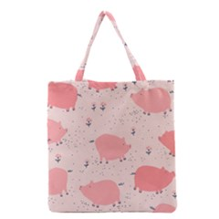 Pigs And Flowers Grocery Tote Bag by allthingseveryday