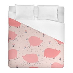 Pigs And Flowers Duvet Cover (full/ Double Size) by allthingseveryday