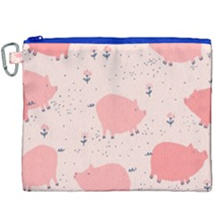 Pigs And Flowers Canvas Cosmetic Bag (xxxl) by allthingseveryday