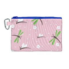 Dragonfly And White Flowers Pattern Canvas Cosmetic Bag (large)