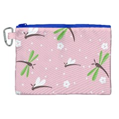 Dragonfly And White Flowers Pattern Canvas Cosmetic Bag (xl)