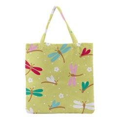 Colorful Dragonflies And White Flowers Pattern Grocery Tote Bag by allthingseveryday
