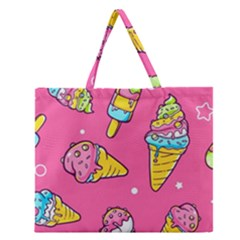 Summer Ice Creams Flavors Pattern Zipper Large Tote Bag by allthingseveryday