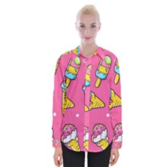 Summer Ice Creams Flavors Pattern Womens Long Sleeve Shirt
