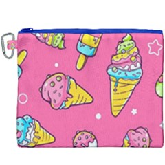 Summer Ice Creams Flavors Pattern Canvas Cosmetic Bag (xxxl)