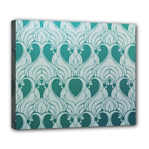 Teal Art Nouvea Deluxe Canvas 24  X 20   by 8fugoso