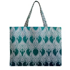 Teal Art Nouvea Zipper Mini Tote Bag by 8fugoso