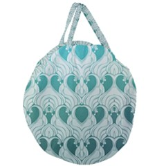 Teal Art Nouvea Giant Round Zipper Tote by 8fugoso