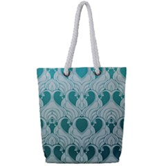 Teal Art Nouvea Full Print Rope Handle Tote (small) by 8fugoso