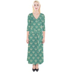 Green Fan  Quarter Sleeve Wrap Maxi Dress