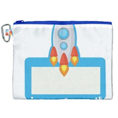 Rocket Spaceship Clip Art Clipart Canvas Cosmetic Bag (xxl) by Celenk
