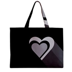 Heart Love Black And White Symbol Zipper Mini Tote Bag by Celenk
