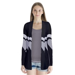 Heart Love Black And White Symbol Drape Collar Cardigan by Celenk